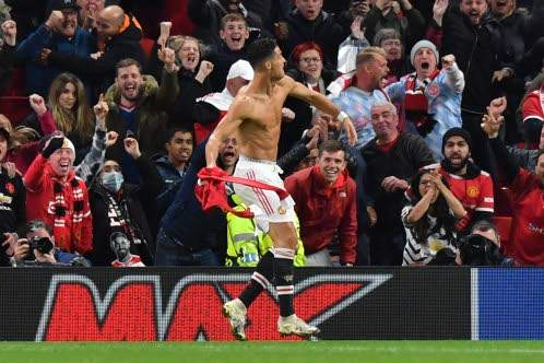 Manchester United striker Cristiano Ronaldo, who scored the injury-time winner as the team beat Villarreal 2-1 in the Champions League group stage yesterday.